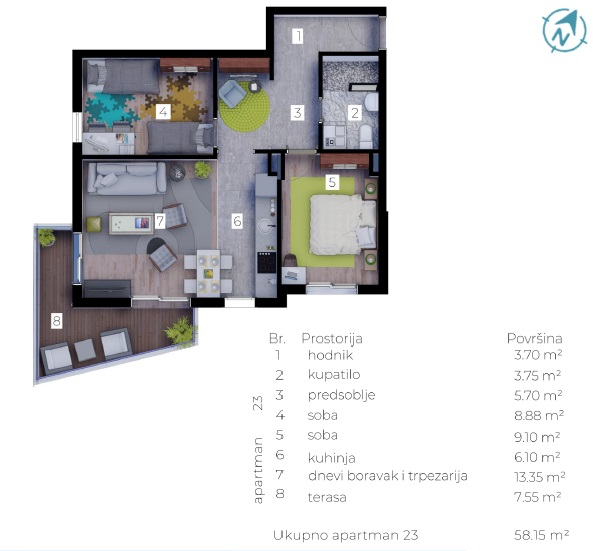 58 m2