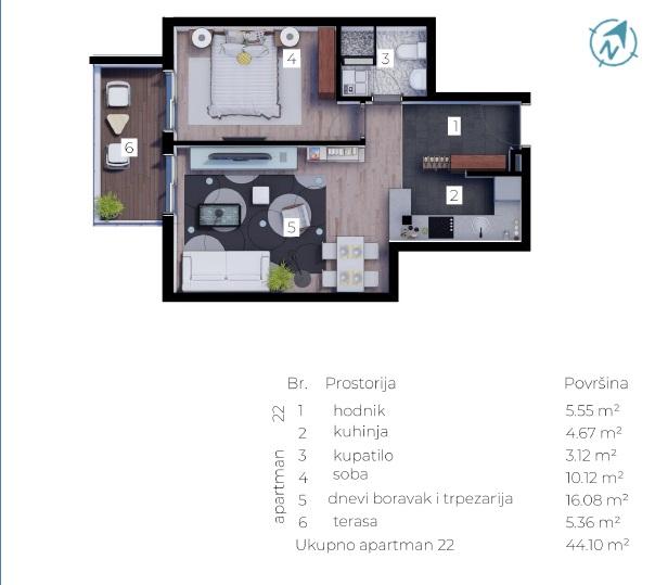 plan 44 m2